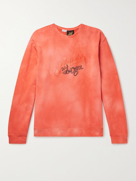 LOEWE + Paula's Ibiza Logo-Embroidered Tie-Dyed Loopback Cotton-Jersey Sweatshirt