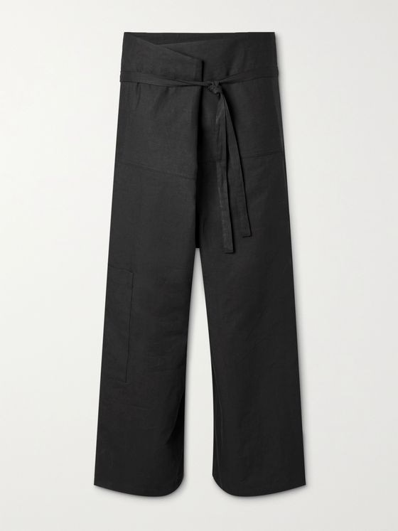 LOEWE + Paula's Ibiza Wide-Leg Belted Linen and Cotton-Blend Trousers