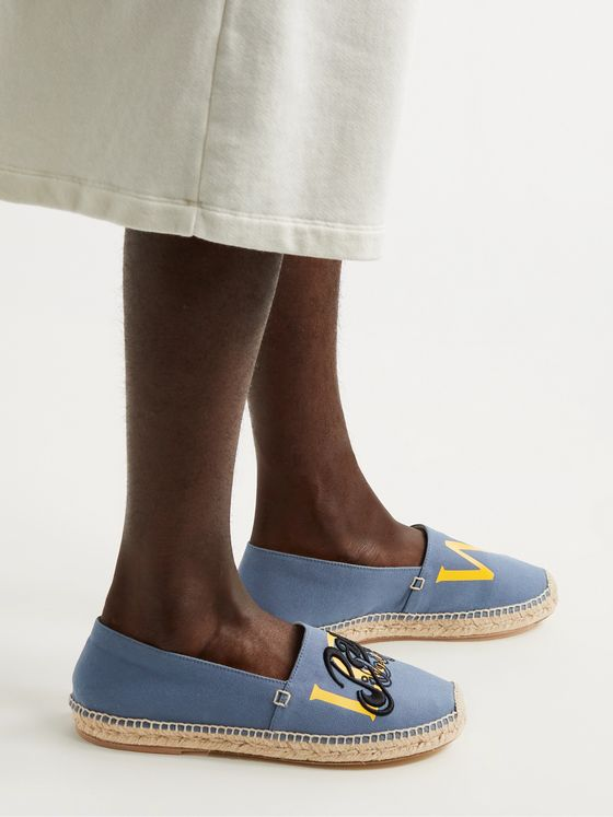 LOEWE + Paula's Ibiza Logo-Detailed Canvas Espadrilles