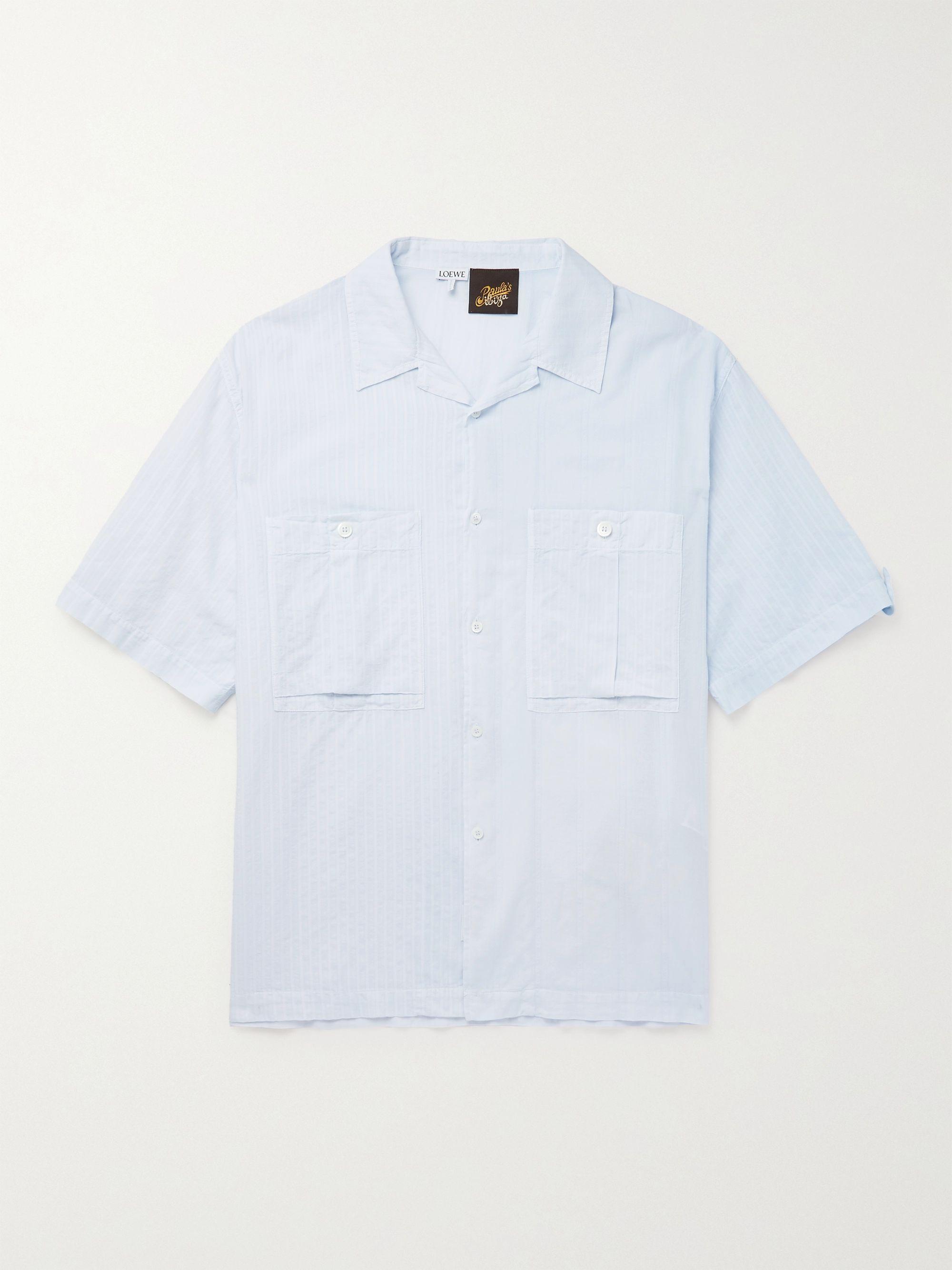 로에베 LOEWE + Paula's Ibiza Camp-Collar Cotton-Jacquard Shirt,Light blue