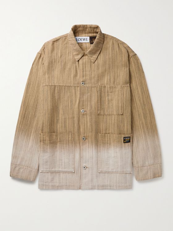 LOEWE + Paula's Ibiza Dip-Dyed Striped Cotton-Jacquard Chore Jacket