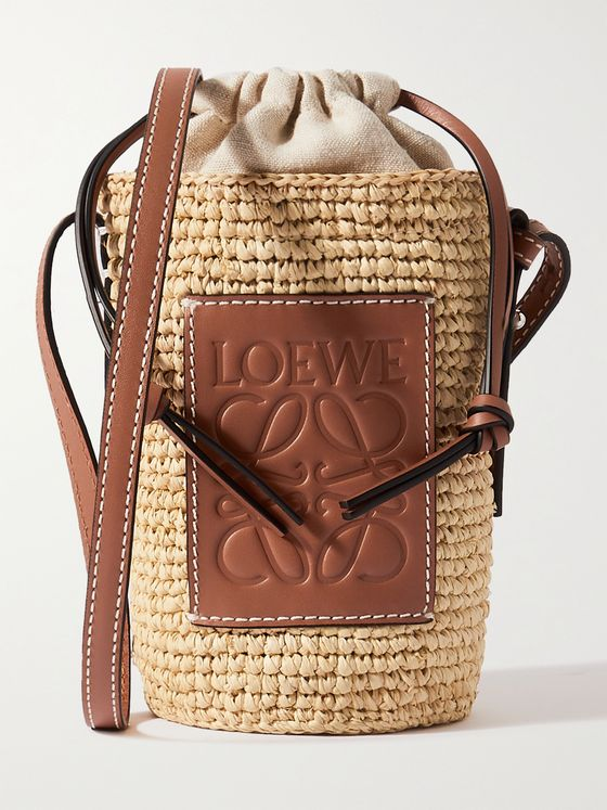 LOEWE + Paula's Ibiza Leather-Trimmed Woven Raffia Pouch