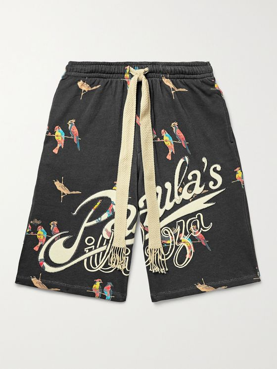 LOEWE + Paula's Ibiza Wide-Leg Printed Loopback Cotton-Jersey Drawstring Shorts