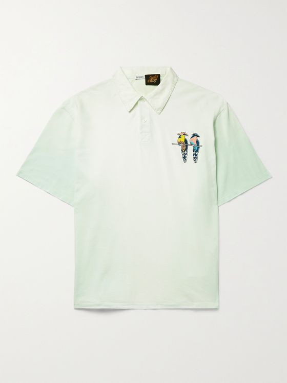 LOEWE + Paula's Ibiza Embroidered Dégradé Cotton-Piqué Polo Shirt