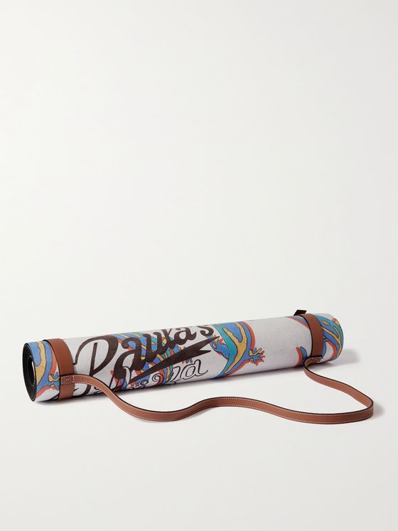 LOEWE + Paula's Ibiza Leather-Trimmed Printed Yoga Mat