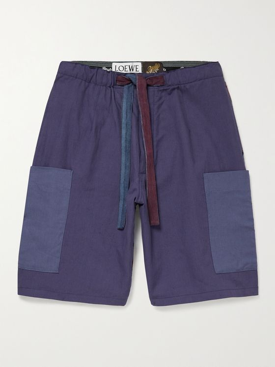 LOEWE + Paula's Ibiza Striped Linen and Cotton-Blend Drawstring Shorts