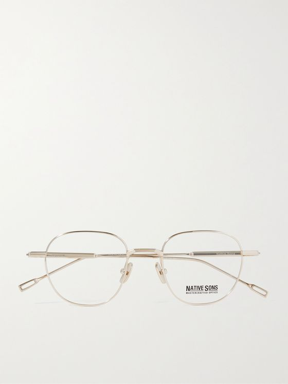 NATIVE SONS Roystan Round-Frame Gold-Tone Optical Glasses