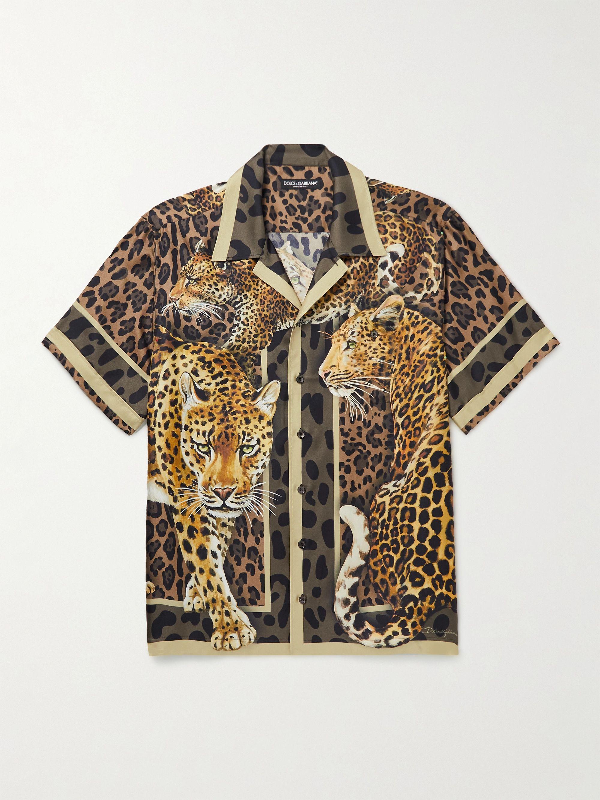 돌체 & 가바나 Dolce & Gabbana Camp-Collar Printed Silk-Twill Shirt,Brown