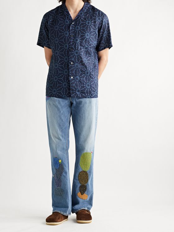 BLUE BLUE JAPAN Asanoha Camp-Collar Indigo-Dyed Linen Shirt