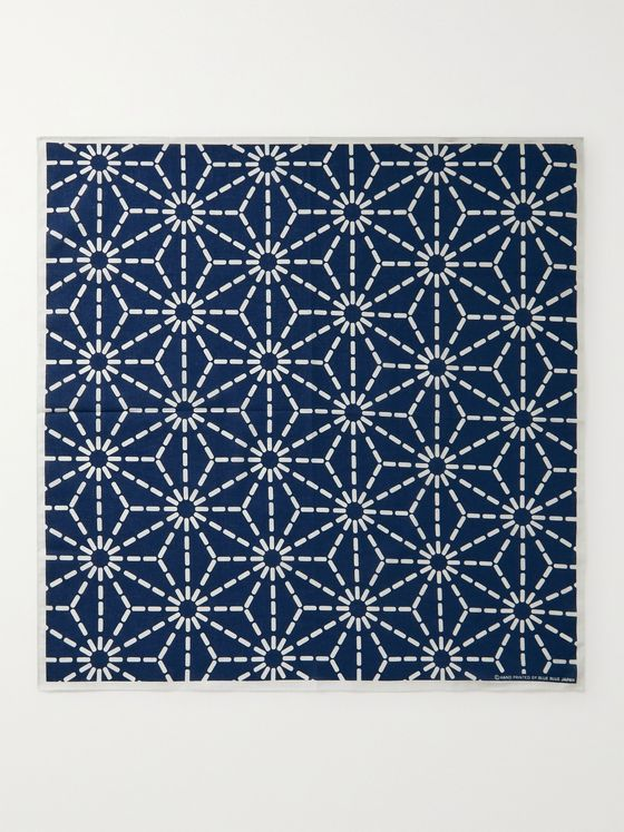 BLUE BLUE JAPAN Printed Indigo-Dyed Cotton Pocket Square