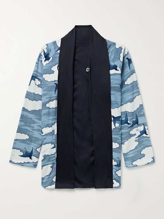 BLUE BLUE JAPAN Reversible Printed Chirimen Crepe Jacket