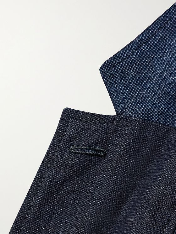 BLUE BLUE JAPAN Slim-Fit Unstructured Panelled Indigo-Dyed Linen Blazer