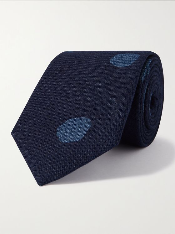 BLUE BLUE JAPAN 8cm Bassen Indigo-Dyed Cotton Tie
