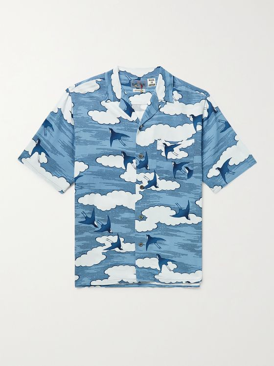 BLUE BLUE JAPAN Camp-Collar Printed Chirimen Crepe Shirt