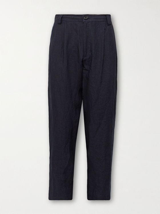 BLUE BLUE JAPAN Tapered Indigo-Dyed Linen Trousers