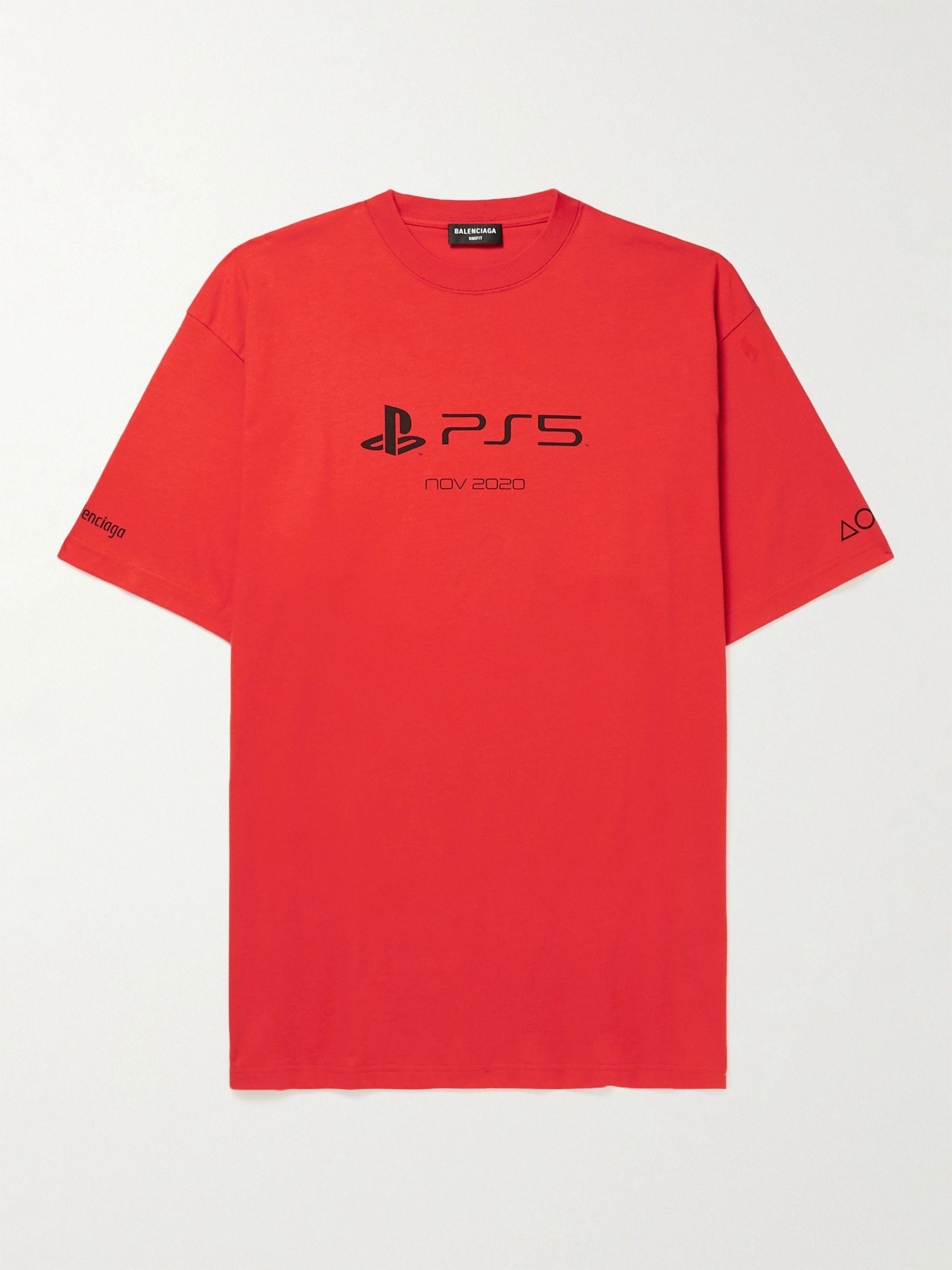 발렌시아가 Balenciaga + PlayStation Printed Cotton-Jersey T-Shirt,Red