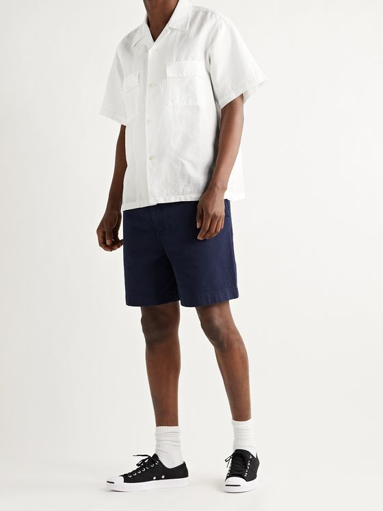 CHIMALA Camp-Collar Herringbone Ramie and Cotton-Blend Shirt