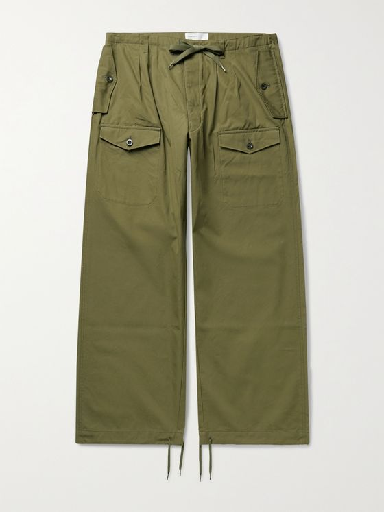 CHIMALA Wide-Leg Cotton-Twill Drawstring Cargo Trousers