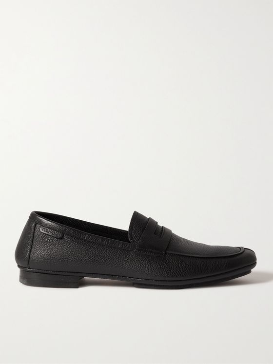 TOM FORD Berrick Pebble-Grain Leather Penny Loafers