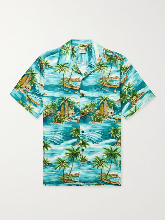 GO BAREFOOT Outrigger Camp-Collar Printed Cotton Shirt