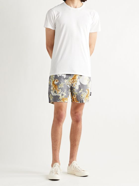 GO BAREFOOT Printed Cotton-Blend Shorts