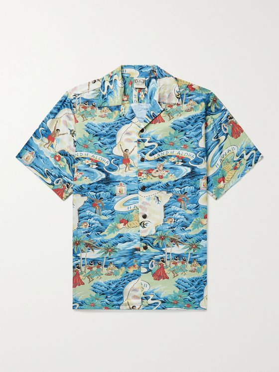 GO BAREFOOT Land of Aloha Camp-Collar Printed Cotton Shirt