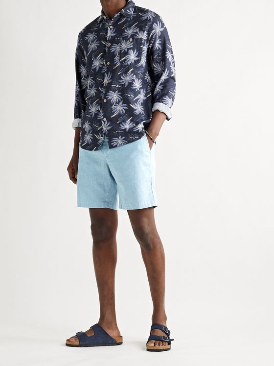 FAHERTY Tradewinds Slim-Fit Mélange Slub Linen-Blend Shorts