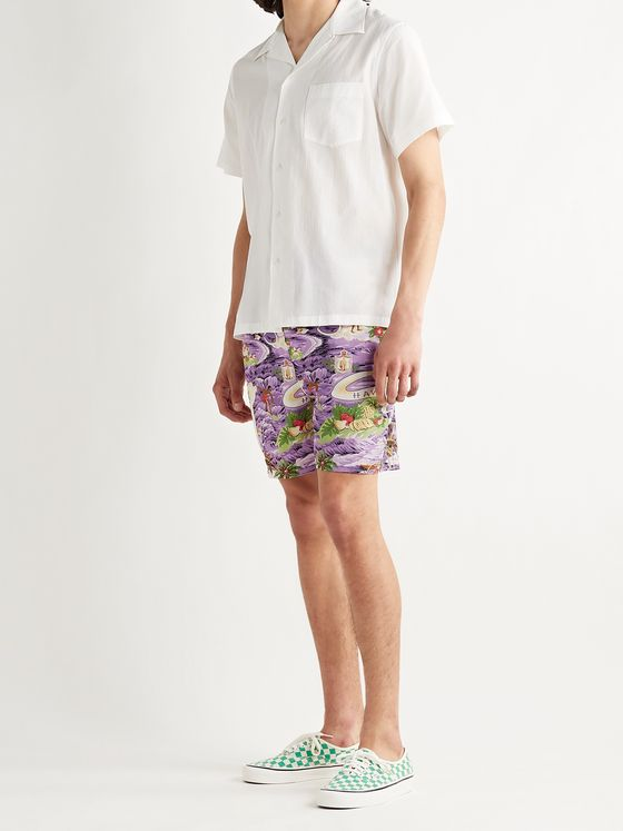 GO BAREFOOT Land of Aloha Printed Cotton-Blend Shorts