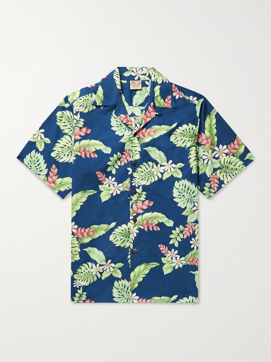 GO BAREFOOT Tiare Garden Camp-Collar Printed Cotton Shirt