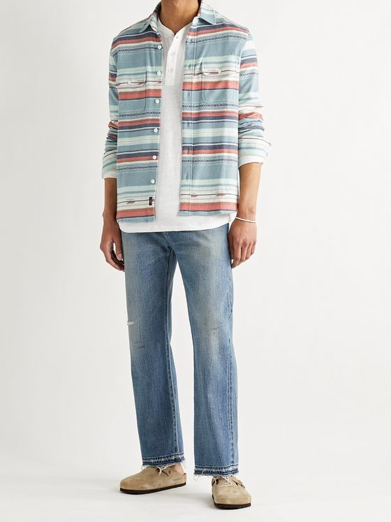 FAHERTY Legend Striped Brushed Stretch-Flannel Shirt