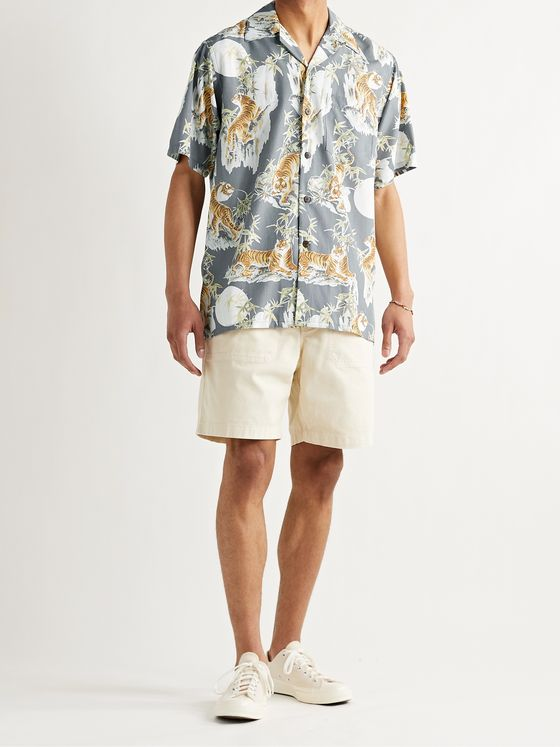 GO BAREFOOT Tiger Faded Camp-Collar Printed Cotton Shirt