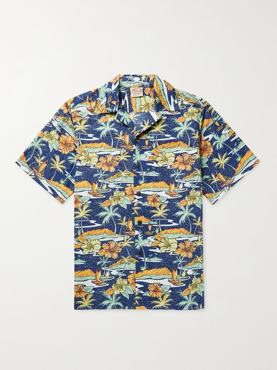 GO BAREFOOT Old Hawaii Camp-Collar Printed Cotton Shirt