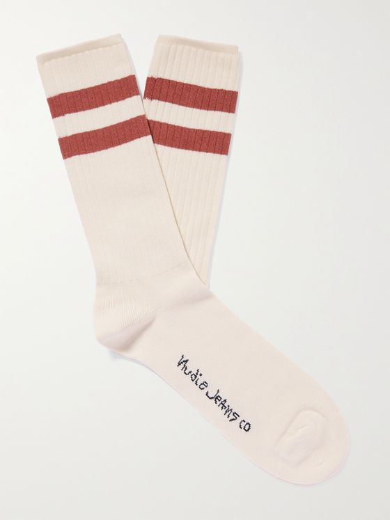 NUDIE JEANS Amundsson Striped Stretch Organic Cotton-Blend Socks