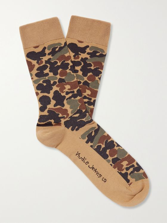 NUDIE JEANS Olsson Camouflage-Jacquard Organic Cotton-Blend Socks