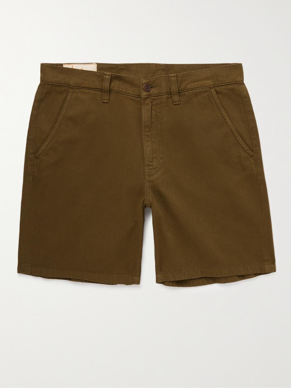 Nudie Jeans Luke Organic Cotton-twill Shorts In Green