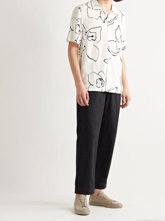 CLUB MONACO Camp-Collar Printed Voile Shirt