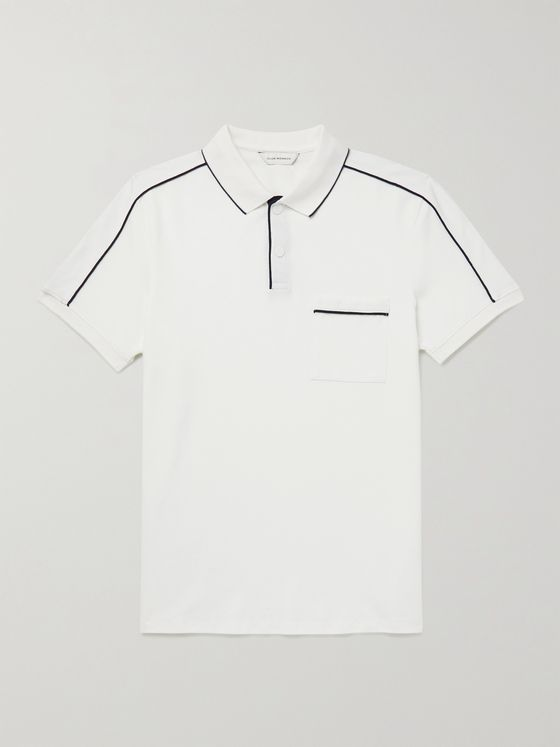 CLUB MONACO Contrast-Tipped Stretch-Cotton Piqué Polo Shirt