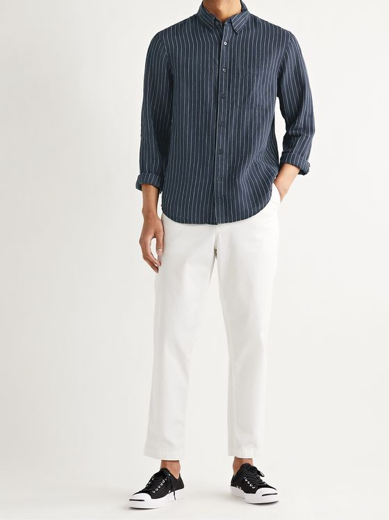 CLUB MONACO Slim-Fit Button-Down Collar Pinstriped Slub Linen Shirt