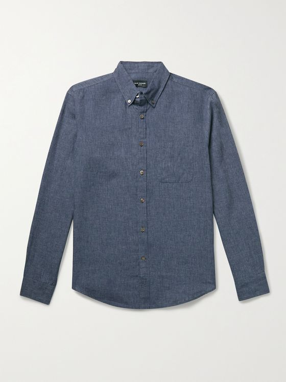 CLUB MONACO Slim-Fit Button-Down Collar Linen-Blend Chambray Shirt