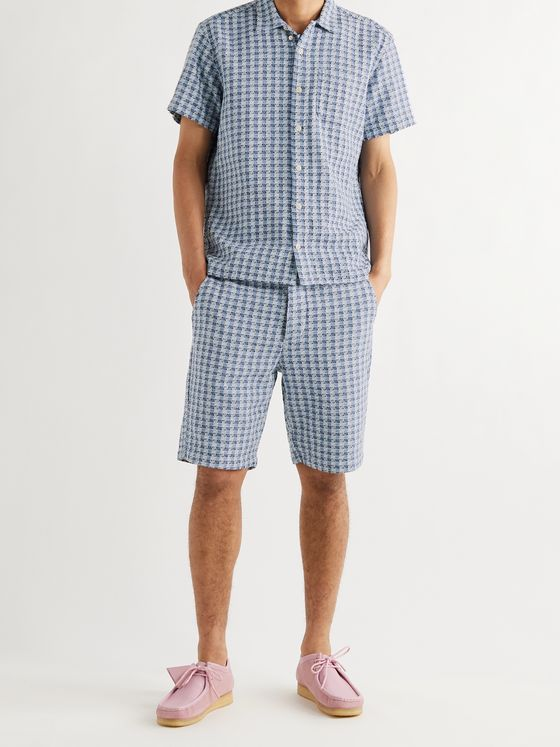 OLIVER SPENCER Embroidered Checked Cotton Shirt