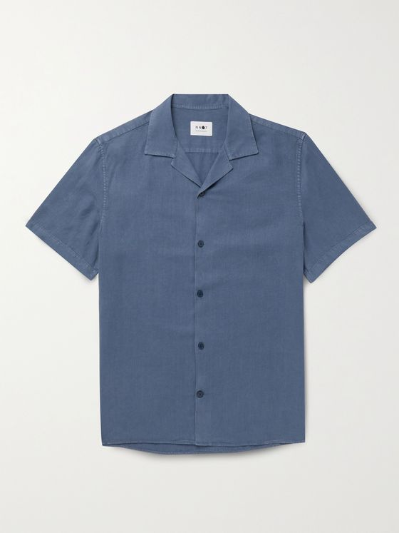 NN07 Miyagi Camp-Collar Garment-Dyed Lyocell and Linen-Blend Shirt