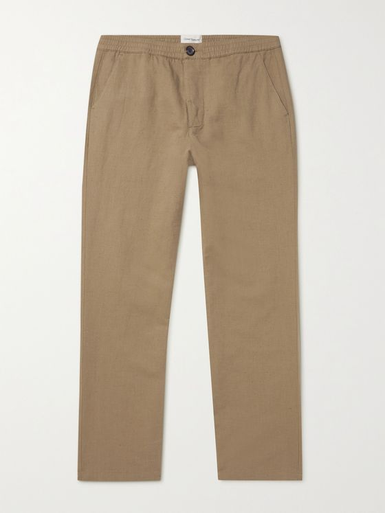 OLIVER SPENCER Linen and Cotton-Blend Drawstring Trousers