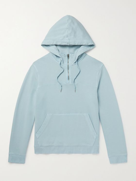 CLUB MONACO Cotton-Jersey Half-Zip Hoodie