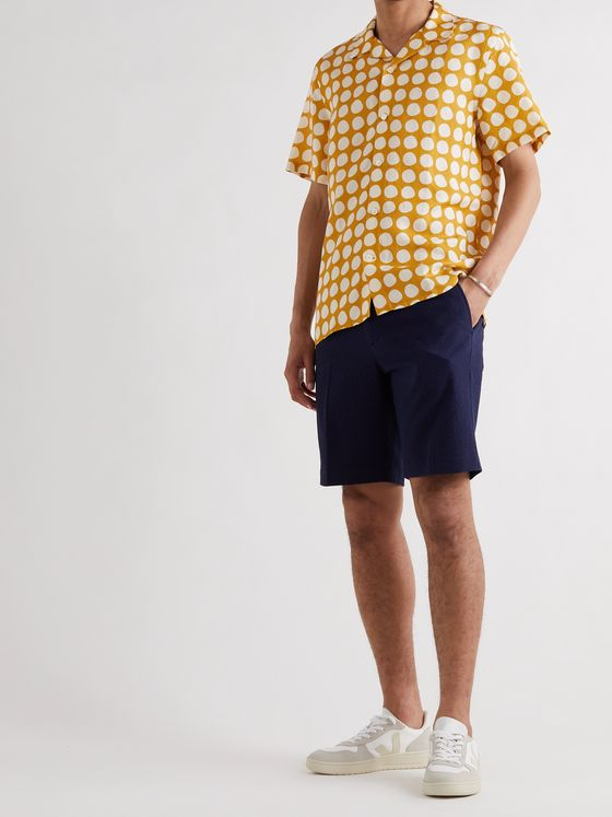 NN07 Miyagi Camp-Collar Polka-Dot Lyocell and Linen-Blend Shirt