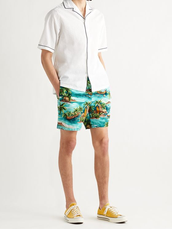 GO BAREFOOT Outrigger Printed Cotton-Blend Shorts