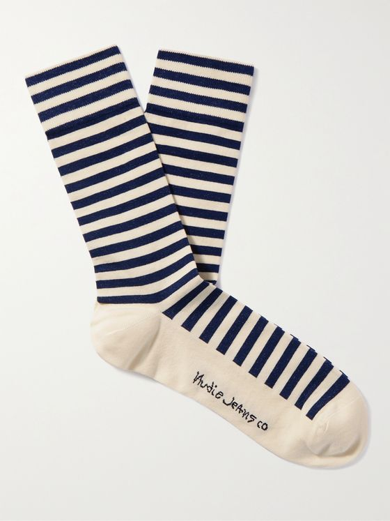 NUDIE JEANS Olsson Striped Organic Cotton-Blend Socks