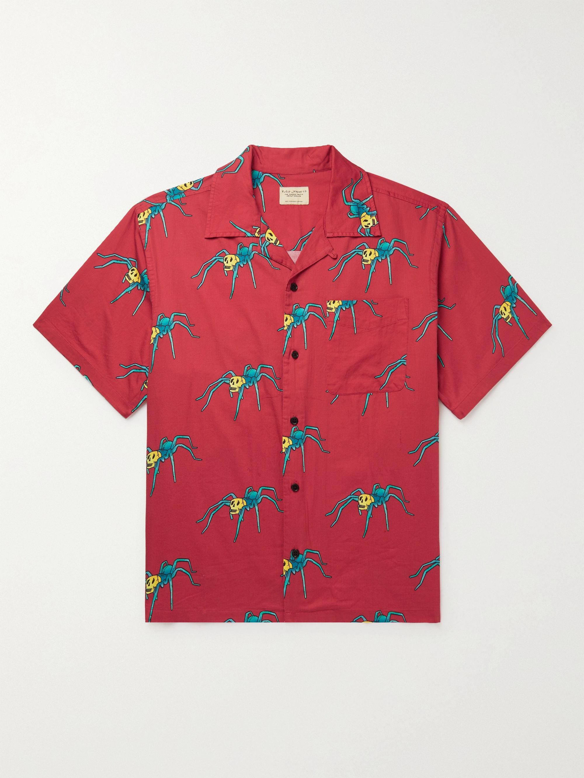 NUDIE JEANS Aron Spiders Convertible-Collar Printed Organic Cotton Shirt,Red