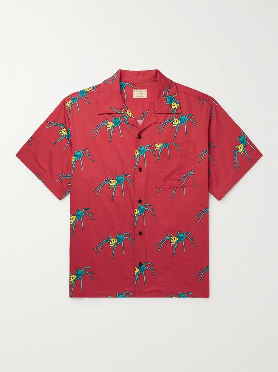 NUDIE JEANS Aron Spiders Convertible-Collar Printed Organic Cotton Shirt