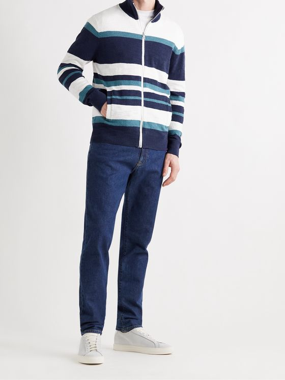 CLUB MONACO Striped Cotton-Blend Bouclé Zip-Up Sweater