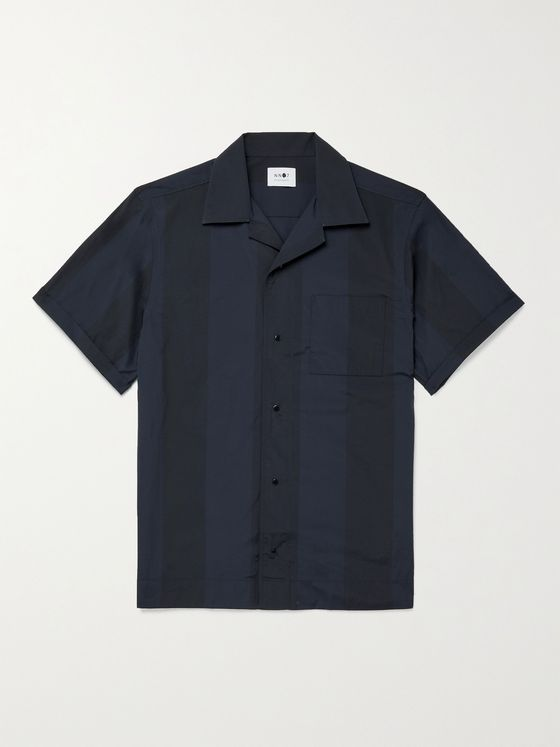 NN07 Oliver Camp-Collar Striped Woven Shirt